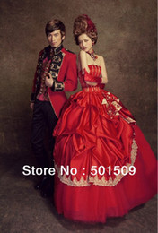 Wholesale Colonial Costumes - mens  womens red medieval dress Renaissance costume Victorian Gothic Lol Marie Antoinette civil war Colonial Belle Ball