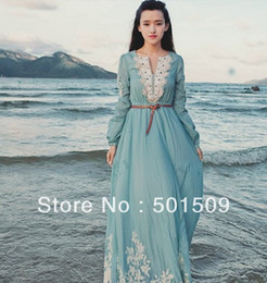 $enCountryForm.capitalKeyWord NZ - Free ship light blue lace embroidery full sleeve long medieval dress Renaissance Gown princess costume Victorian Gothic Lo Marie Antoinette