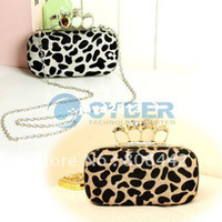 Wholesale Skull Ring Handbag Leopard - Wholesale - Fashion Punk Skull Ring Sexy Leopard Print Shoulder Clutch Evening Bag Handbag with Sequin Metal Chain