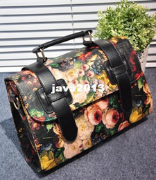 Wholesale Oil Painting Bags - Wholesale - PROMOTION Free shipping fashion women's 2013 Vintage oil painting flower handbag messenger bag briefcase bag cross-body
