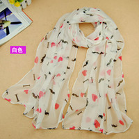 Wholesale Heart Accessories For Scarf - Fashion Spring Summer New Scarf For Women Chiifon Printed Scarves Mustache Love Heart Pattern Elegant Style Accessories