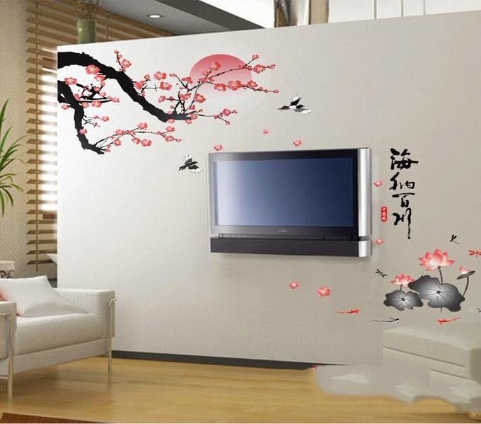 Chinese Painting Wall Sticker Plum Blossom And Lotus Traditional Chinese  Painting Wall Decal Living Room Wall Decor 60*90cm Free Shipping