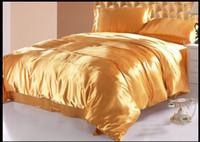 ipek yatak takımları lüks yorgan setleri toptan satış-Lüks altın doğal dut ipek yorgan yatak seti kral kraliçe tam ikiz nevresim çarşaf mulfruit altın sarı