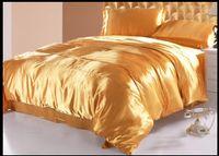 conjunto de comforter dourado queen size venda por atacado-Luxo ouro natural amoreira seda consolador conjunto de cama king size rainha folha de cama folha de cama de solteiro completo mulfruit amarelo dourado