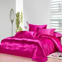juego de cama de lujo rosa rosa al por mayor-Rosa caliente juego de cama de edredón de seda de morera natural king size queen full twin Luxury rose edredón rojo sábana boda