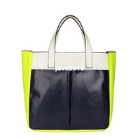 Wholesale Neon Satchels - Wholesale - Casual Portable TMC Women Neon Yellow Handbags Beach Bag Patchwork Satchel Bag YL082-2