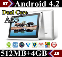 Wholesale Dual Core Jelly Bean - 30X Allwinner A23 Dual Core 7 inch capacitive Tablet pc Android 4.2 jelly bean Dual Camera 512M Ram 4GB Rom Play Store