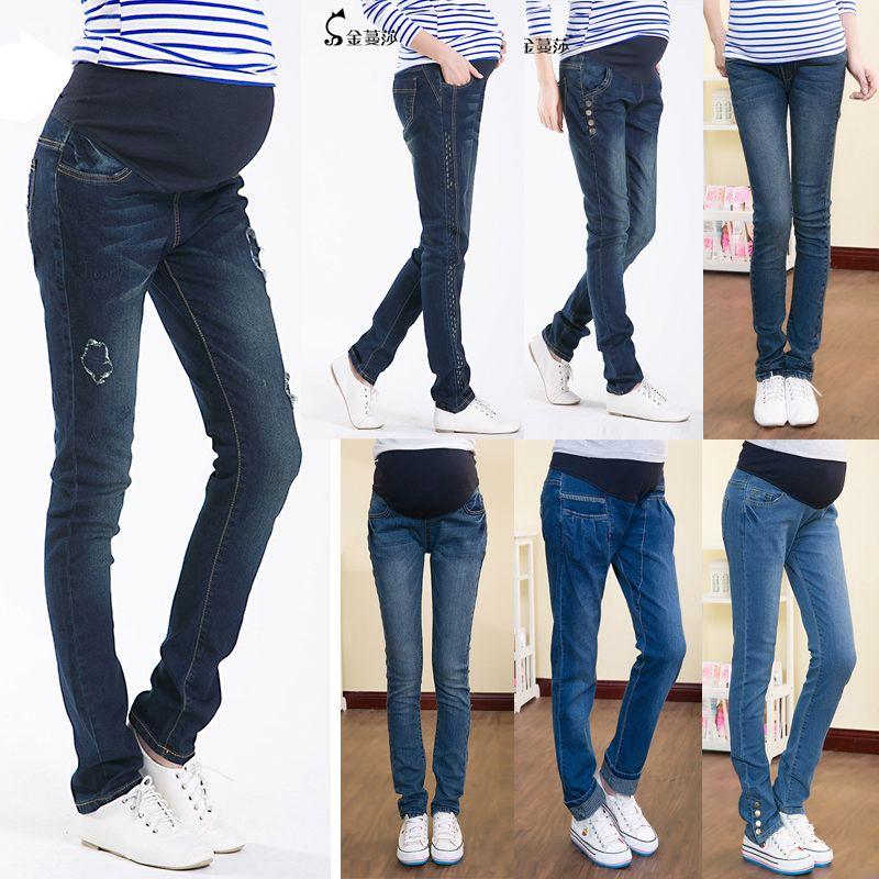 2019 Skinny Elastic Waist Denim Maternity Jeans Pencil ...