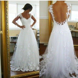Wholesale Elegant Sexy Wedding - Lace Wedding Dress Elegant A-line Scoop Neck Cap Sleeve Sheer Panel Backless Bridal Gowns Court Train