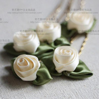 Wholesale Cheap Silk Flower Pins - Free Shipping Cheap Wedding Bridal Hair Comb Ivory wedding bridal flower Hair Pins up Wedding Bridal Jewelry Hair Jewelry Accessories