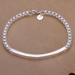 Wholesale Silver Box Chain Bracelet - Fashion 925 Silver Bracelet jewelry Box Chain ID Bracelet 20CM*0.5CM Good Gift 10pcs