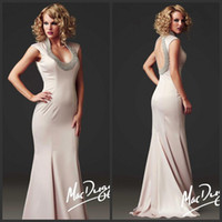 Wholesale Chiffon Embellishments - 2015 Sexy Mermaid Mother of the Bride Dresses Halter Beads Embellishment Cutout Back Floor Length Chiffon Evening Dresses Prom Gowns