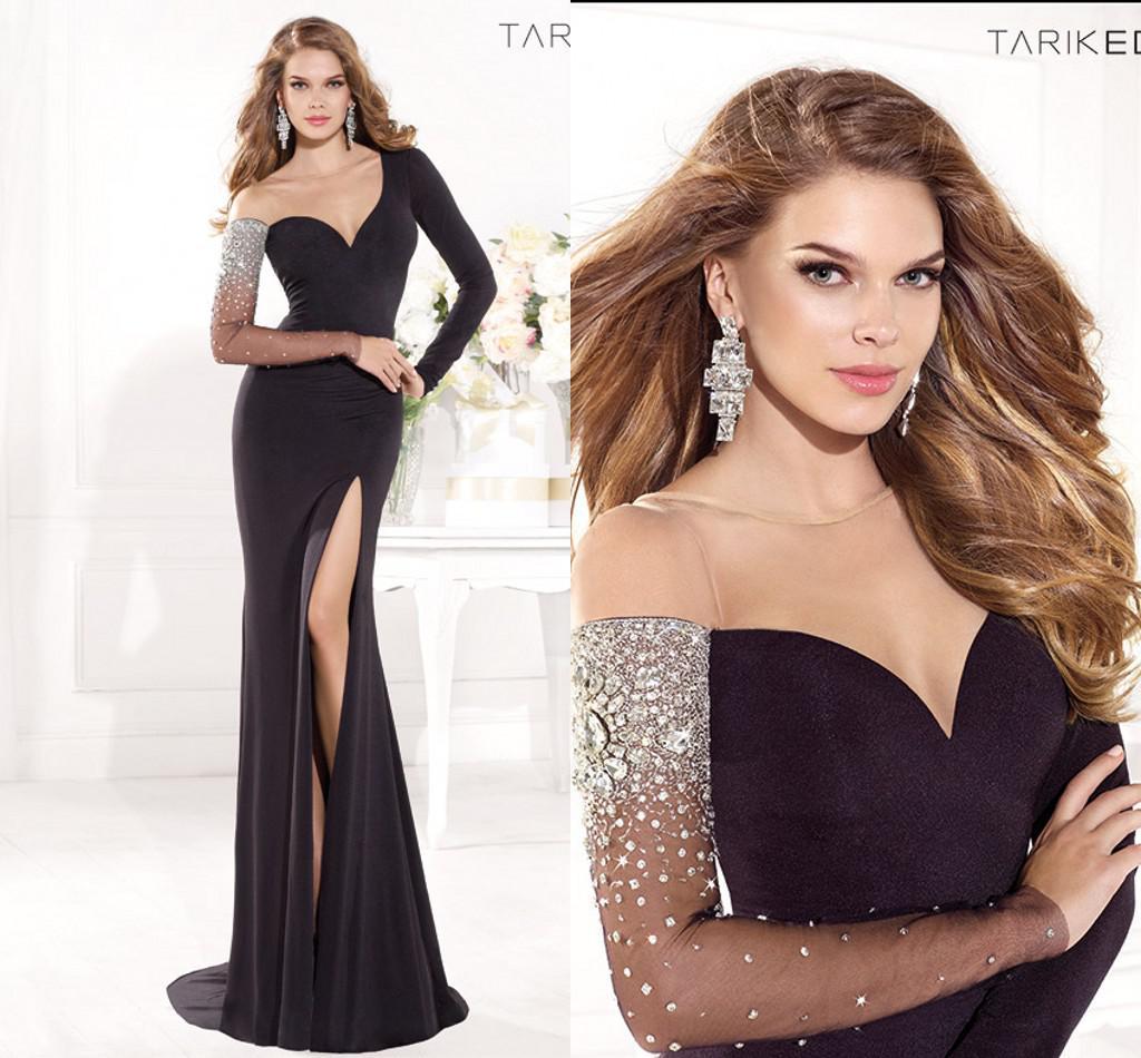 großhandel besatzung sweep zug tarik ediz schwarz high side slit langarm  prom kleid schiere abendkleider 2014 sexy pageant schlauchkleider von