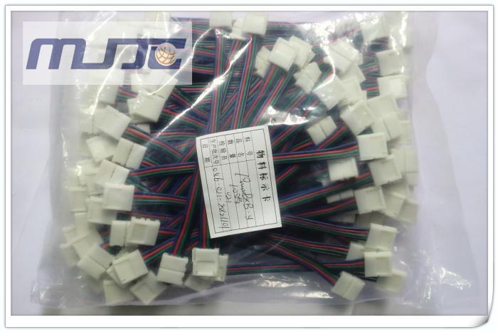 30 STÜCKE 4PIN 10 MM SMD 5050 RGB LED Streifen Licht Steckverbinder mit Draht ohne Löten
