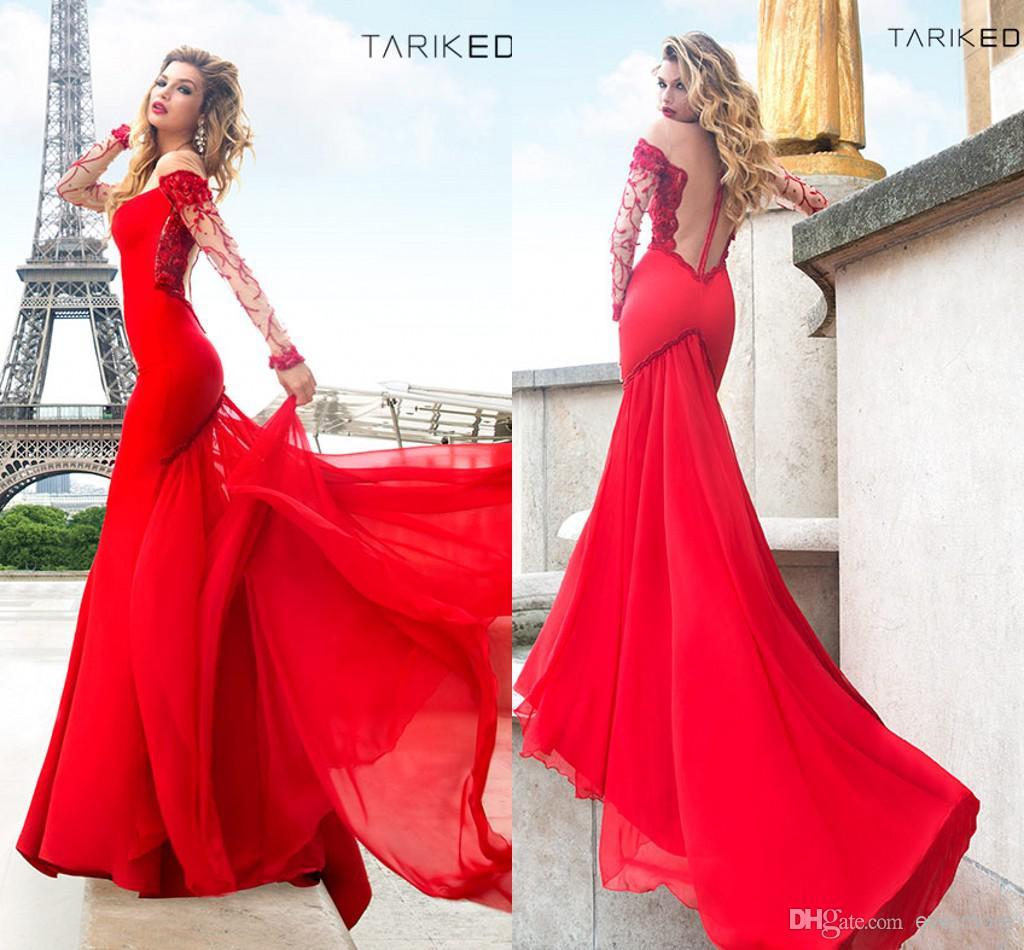 Großhandel Tarik Ediz Rot Prom Kleider 2014 Long Sleeve Perlen ...