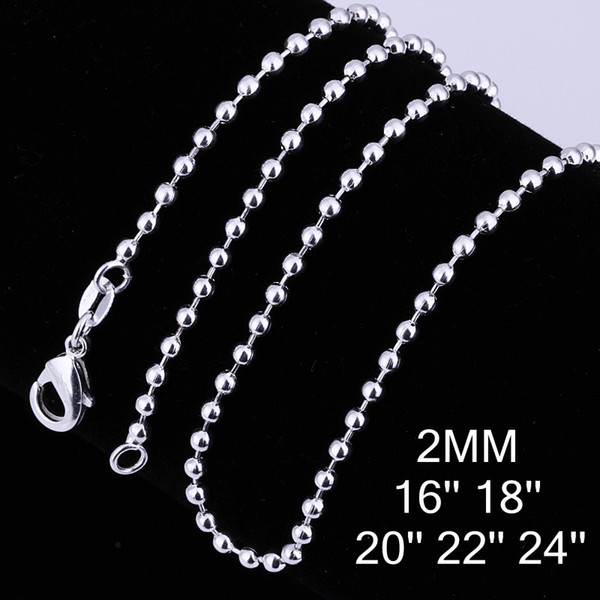 Mixed size orders 925 silver plated 2MM beads Chain Necklace (16-24inches) Fashion Jewelry Free Shipping 50pcs/lot