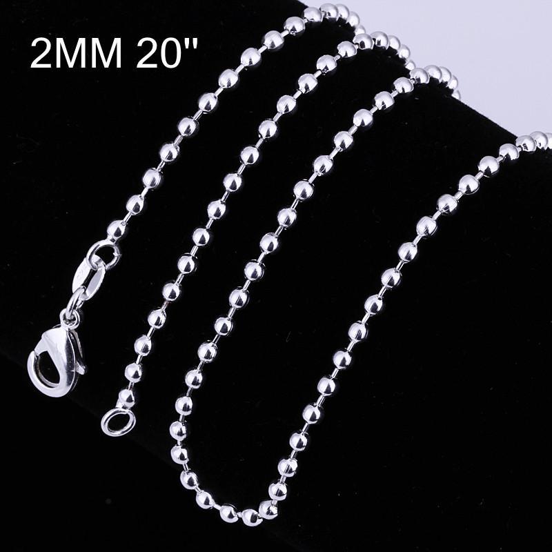 La taille mélangée ordonne l'argent 925 plaqué 2MM perles chaîne collier 16-24inches mode bijoux livraison gratuite /