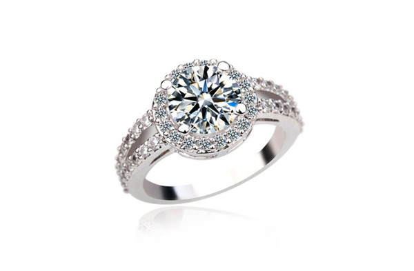 White Gold plated 2 Round Swiss Cubic Zirconia and Channel Mounting Halo Engagement Rings