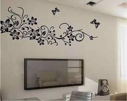 Wholesale Deco Kids - Large Corner Flower Vine Swirl Flower Tree and Butterfly Home Deco Wall Stickers two color : black,pink
