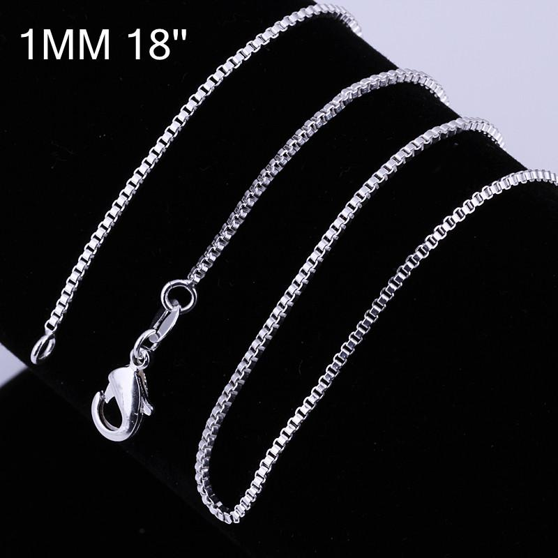 High quality 925 silver plated 1MM 16-24inches box chain necklace fashion unisex jewelry