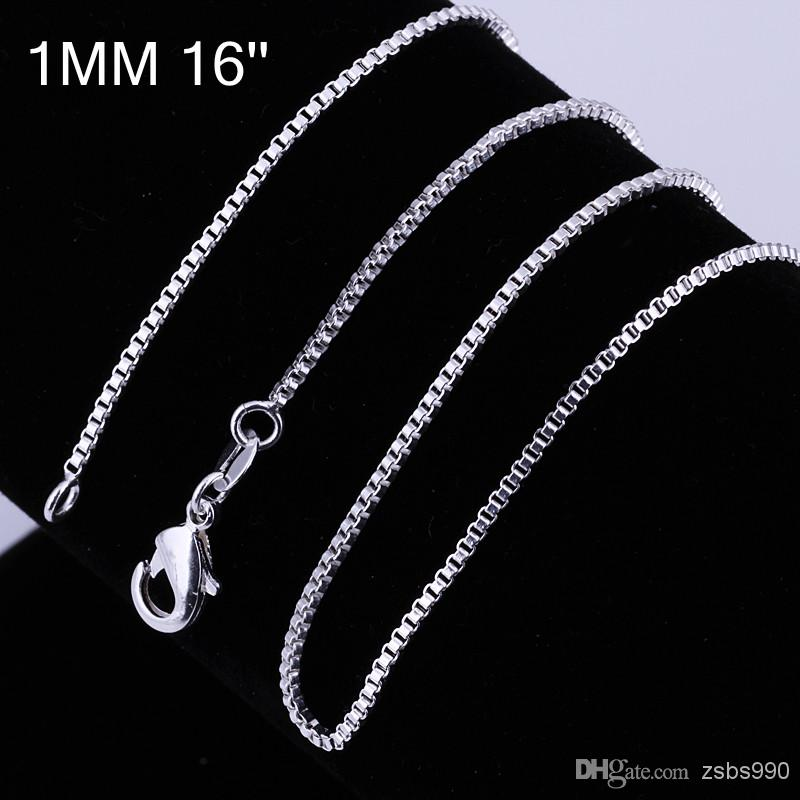 Högkvalitativ 925 Silver Plated 1mm 16-24Inches Boxkedja Halsband Fashion Unisex Smycken Gratis frakt /