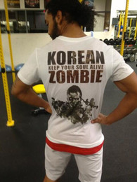 "Wholesale White Zombie Shirt - new man t-shirt fight tops ""The Korean Zombie 163"" 137 white color free shipping"