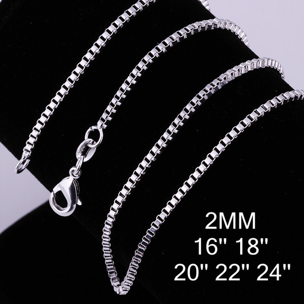 Men's Jewelry Fashion 925 silver plated high quality 2MM (16-24inches) box chain necklace free shipping 100pcs/lot