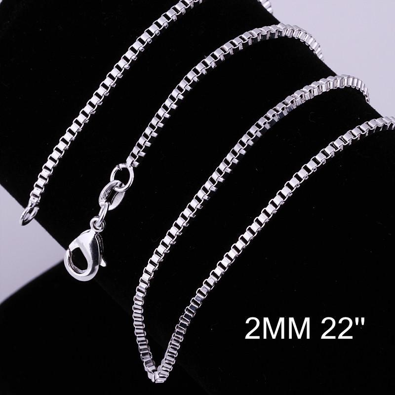 メンズジュエリーファッション925シルバーメッキ高品質2mm(16-24インチ)ボックスチェーンネックレス送料無料100ピース/ロット