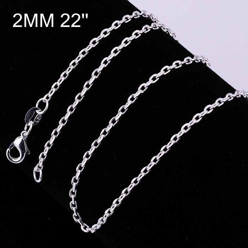 Mixed size orders 925 silver plated Figaro chain necklace 2MM Fashion Jewelry