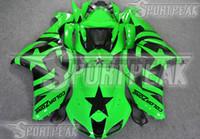 zx6r personalizado al por mayor-7 kits de cuerpo de carenados de regalos para Kawasaki Ninja ZX-6R 2005 2006 ZX6R 05 06 ZX 6R pintura personalizada verde