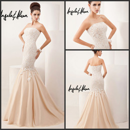 Wholesale Sexy Gorgeous Evening Dress Cheap - High Quality Gorgeous Lace Applique Strapless Mermaid Long Formal Evening Dresses 2014 Sexy Party Prom Dress Gowns No Sleeve Cheap