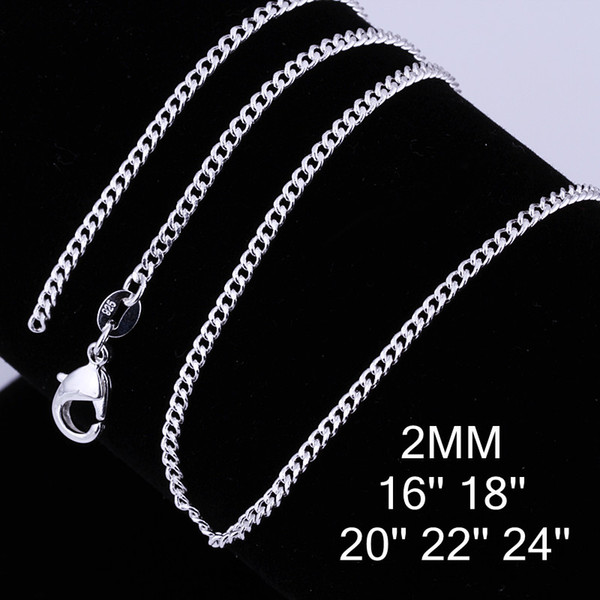High quality 925 silver plated 2MM (16-24inches) side chain necklace men's fashion jewelry free shipping 100pcs/lot