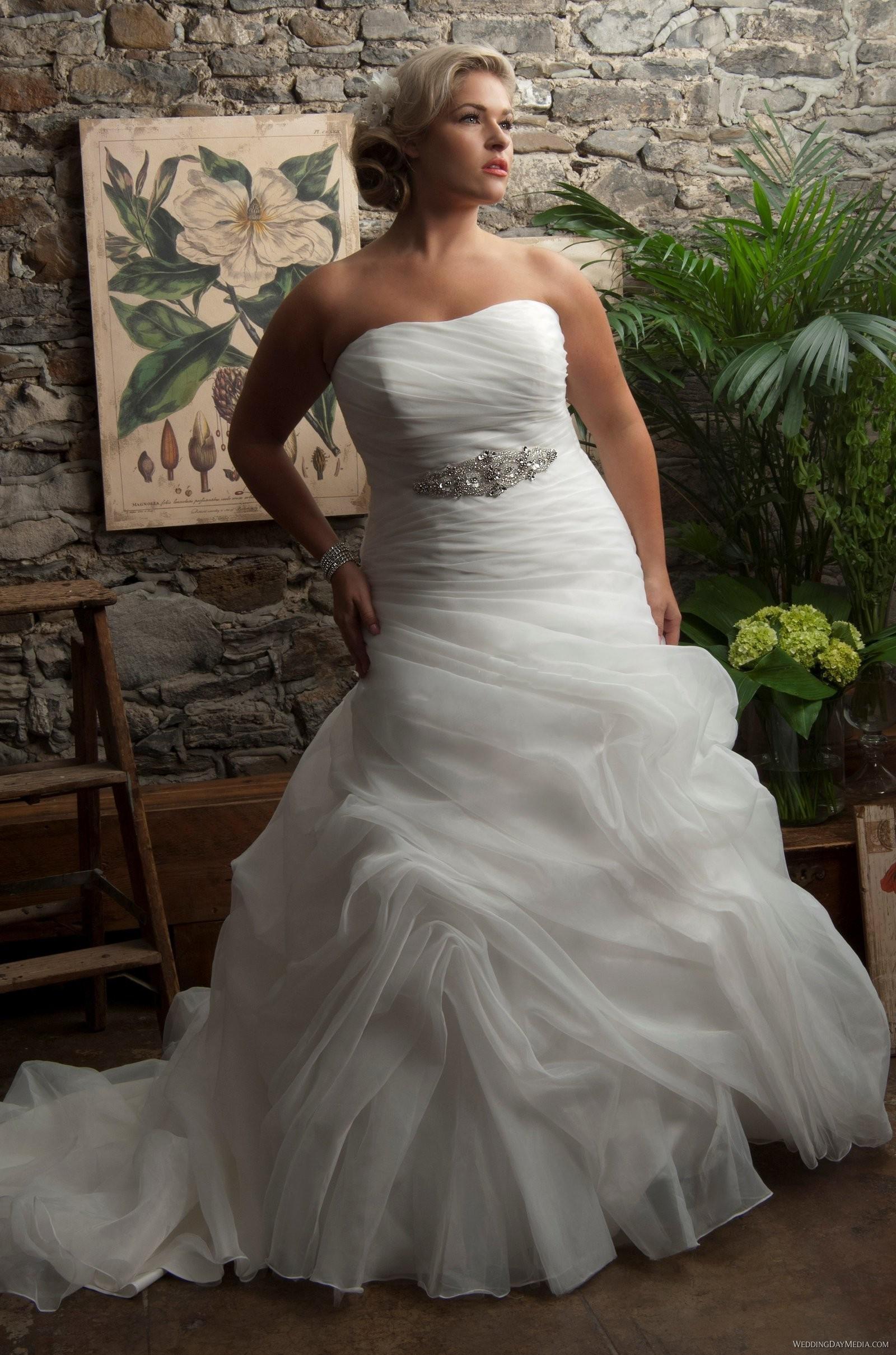 Discount Cheap Elegant Strapless Pleated Bodice Organza Ruffle Beaded Belt Lace Up Plus Size Train Wedding Dress Bridal Gown Ri355 Designer Dresses: Pleated Bodice Strapless Wedding Dress At Reisefeber.org