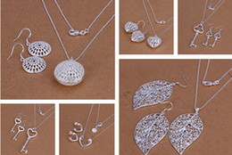 Wholesale Earrings Fashion New Arrival - New Arrival Mixed Fashion women's Jewelry Set 925 Silver Necklace & Earrings Hot Sale free shipping 10set lot