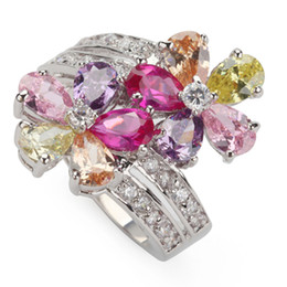 Wholesale First Ring - First class products Recommend Trendy Pink Amethyst Morganite Peridot Cubic Zirconia fashion Silver Plated RING R504 sz#6 7 8 9