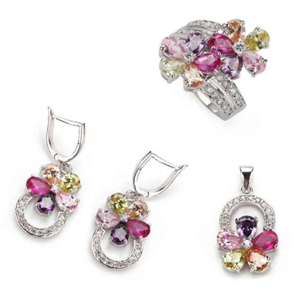Pink Amethyst Morganite Peridot gemstone silver Plated fashion heart set (ring/earring/pendant) 504set sz#6 7 8 9