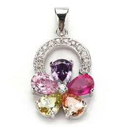 Wholesale Morganite Pendants - Trendy Pink Amethyst Morganite Peridot Cubic Zirconia fashion Silver Plated Pendants R505 Recommend Promotion Favourite Best Sellers