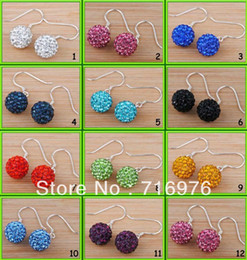 Wholesale Disco Ball 925 - Free shipping 20pcs(10 Pairs) Mix Color 10mm Shamballa Disco Pave Crystal Ball 925 silver Earrings