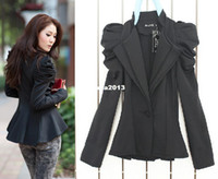 Wholesale One Button Shrug - Wholesale - OISK 2013 New Ladies Double Collar Dovetail Shrug Shoulder Women Puff Sleeves One Button Coat JE052