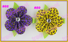 Wholesale Pretty Flower Clips - free shipping 50pcs pretty petal flower clip new loopy flower clips mix color baby hair bows lemon