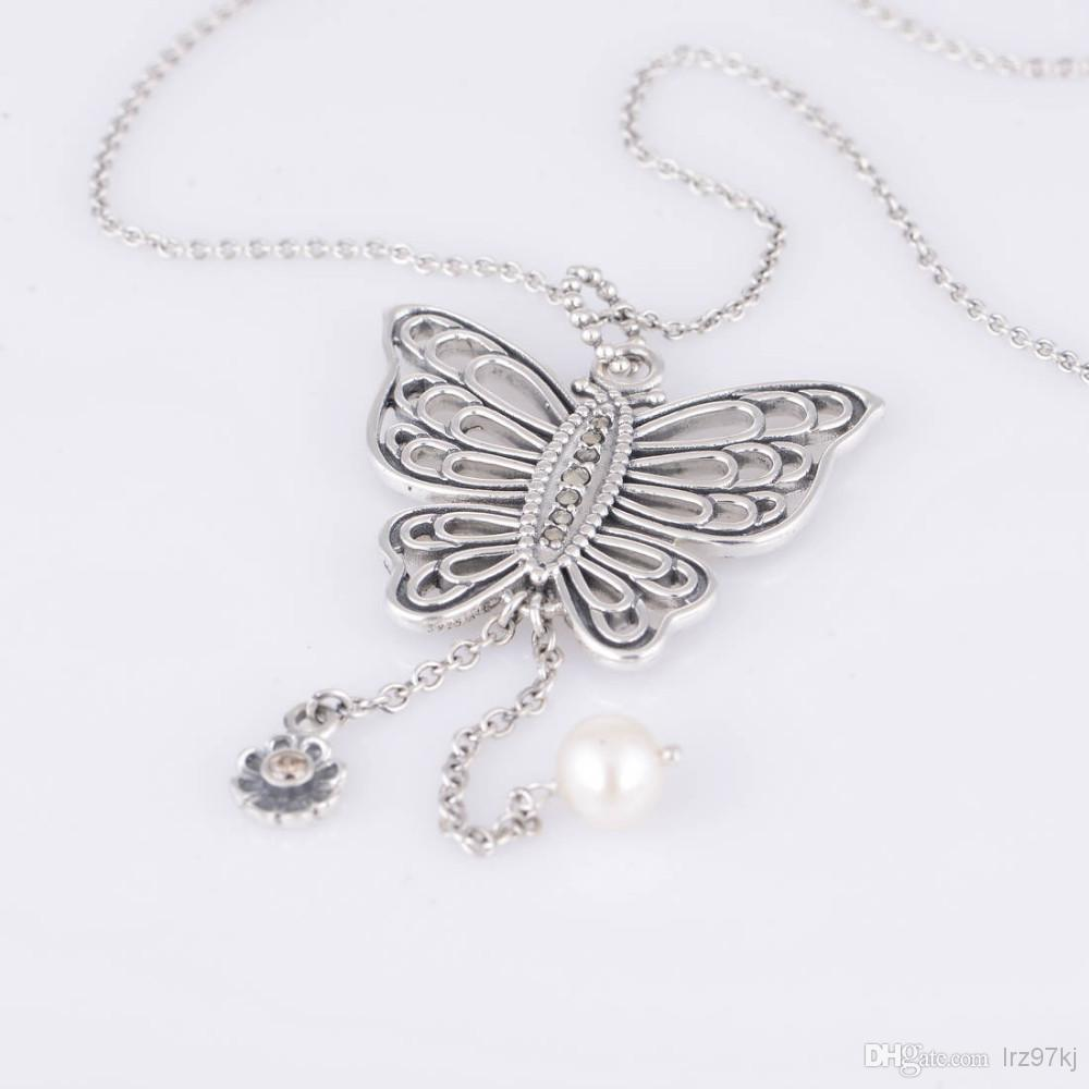9ea251bda Authentic 925 Sterling Silver Love Takes Flight Butterfly Pendant with  Champagne and Freshwater Pearl Fits European ...