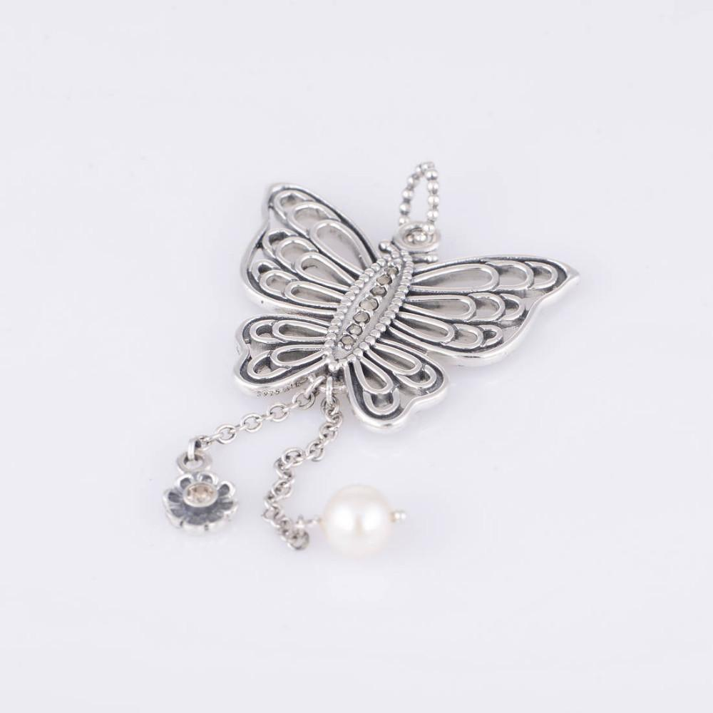 01fea5880 ... Authentic 925 Sterling Silver Love Takes Flight Butterfly Pendant with  Champagne and Freshwater Pearl Fits European ...