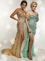 Wholesale Sweetheart Rhinestone Feather - 2014 Gorgeous Prom Dresses Sweetheart Chiffon Gowns Beaded Rhinestones Split Side Backless Dress Feather Custom Made Gown Sweep Train