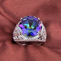 Wholesale Topaz Rings Sale - 2015 Sale Top Fashion Tapered Bearing Rotary Table Rodamiento Roller Fashion 925 Silver Mystic Topaz Nice Rings Jewelry #7.5 #8 #9 R0187