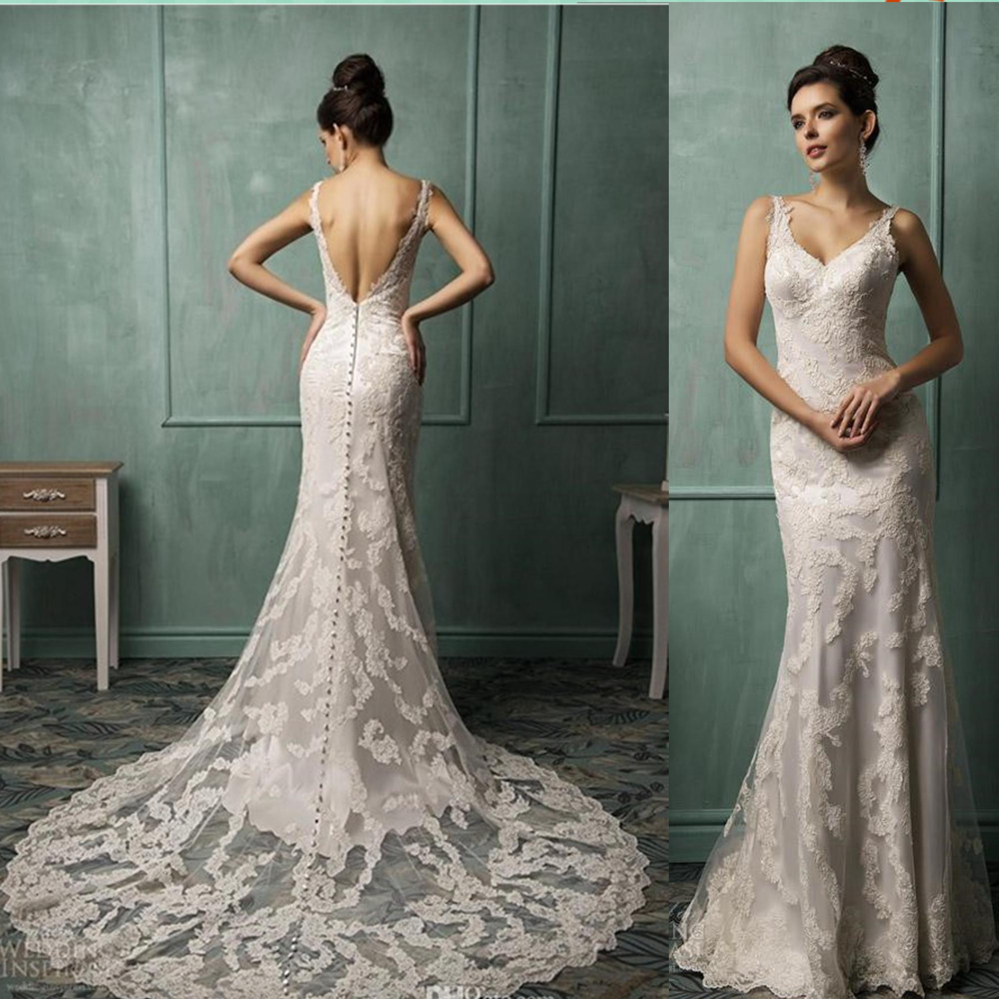 Discount high quality lace applique v neck sexy backless wedding discount high quality lace applique v neck sexy backless wedding dresses 2014 new cheap bridal gowns covered button wedding dress white dresses formal ombrellifo Images