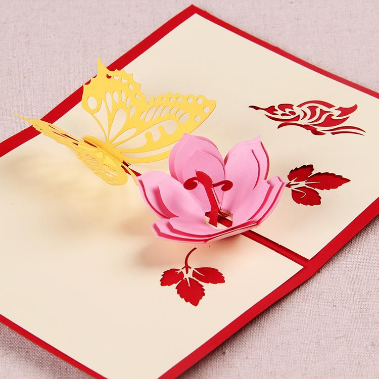 Butterfly flower handmade origami 3d pop up greeting cards in red butterfly flower handmade origami 3d pop up greeting cards in red blue black greeting cards blank cards from lidaogift 161 dhgate mightylinksfo