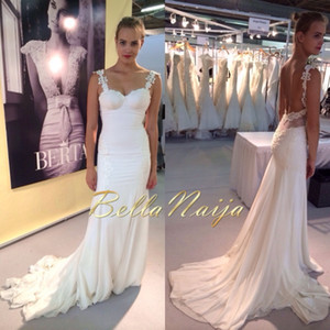 2014 New Spaghetti Strap Slim Fit Sheath Berta Wedding Gown White Lace Long Sleeve Sweep Train Backless Wedding Bridal Dresses on Sale