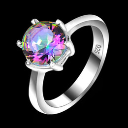 Wholesale Wholesalers For Silver Rings - Vintage 925 Sterling Silver Queen Fancy Natural Mystic Topaz Round Gemstone Jewelry Austrian Crystal Wedding Ring for lovers CR0471