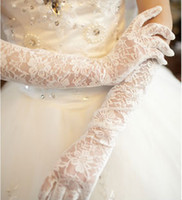 Wholesale Cotton Above Elbow Gloves - White or ivory Brand new Satin gauze Finger elbow Length Gloves Bridal Wedding Gloves