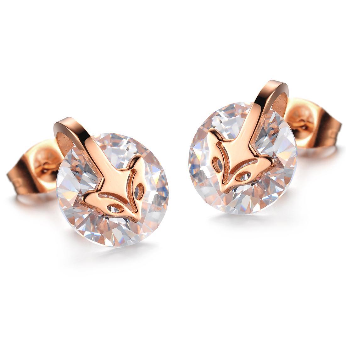 البيع المباشر جديد الأزياء والمجوهرات بالجملة ارتفع الماس الثعلب رئيس الزركونيوم التيتانيوم الصلب أقراط الذهب مطلي N265